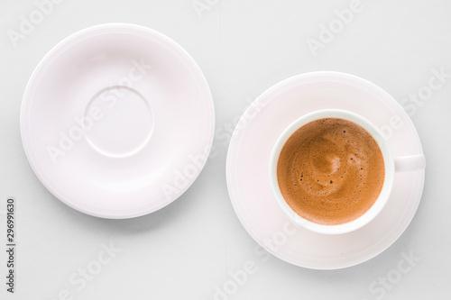 Fototapeta Cup of hot french coffee as breakfast drink, flatlay cups on white background obraz na płótnie