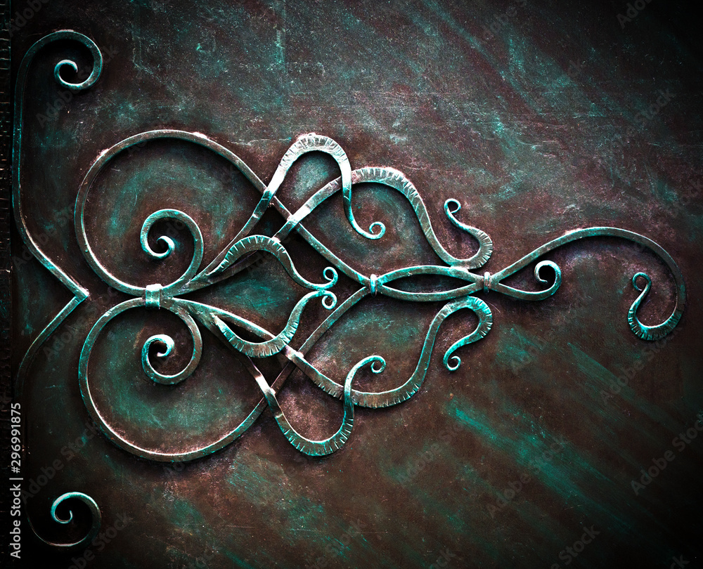 Fototapety, obrazy: Iron Gate With Wrought Ornament On