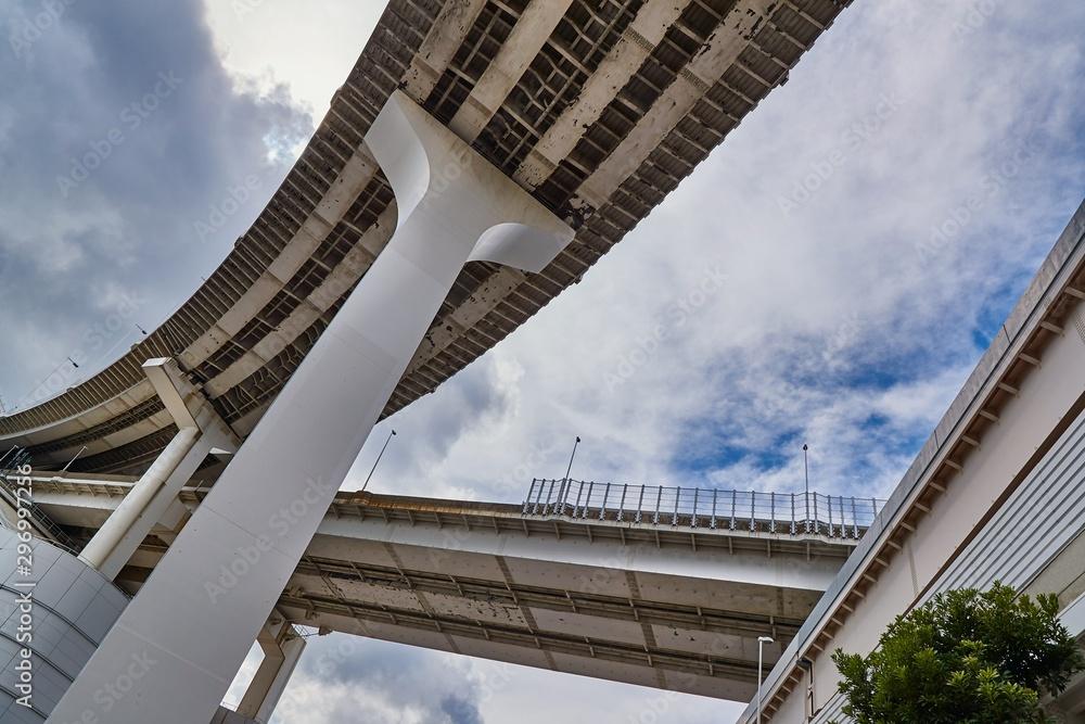 Fototapeta Highway overpass viaduct from below