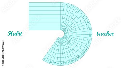 Carta da parati Daily habit tracker for 31 days vector design