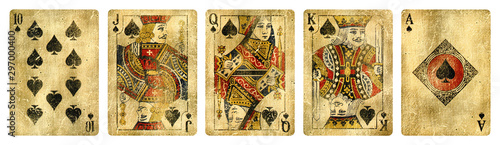 Spades Suit Vintage Playing Cards, Set include Ace, King, Queen, Jack and Ten - isolated on white.