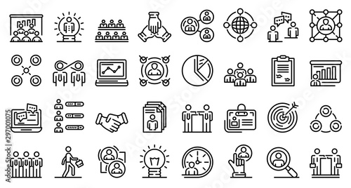 Pinturas sobre lienzo  Collaboration icons set