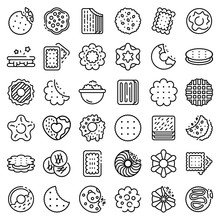 Cookie Icons Set. Outline Set ...