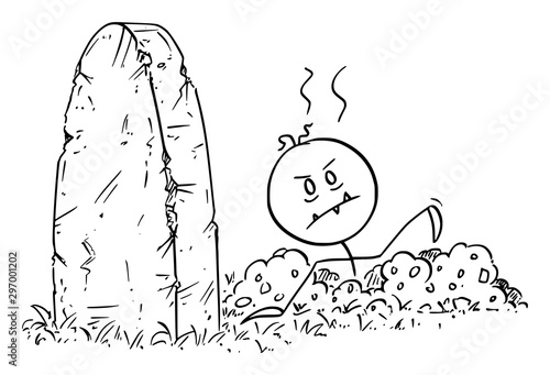 Fényképezés Vector cartoon stick figure drawing conceptual illustration of dead Halloween zombie rising out of the grave on cemetery