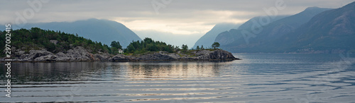 Norwegian fjords sea mountain view,  sunset panoramic landscape, Norway Canvas Print