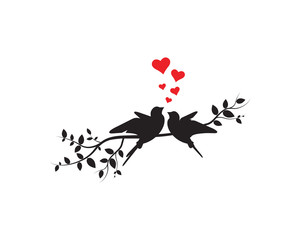 Naklejka Do sypialni Flying Birds on Branch Vector, Wall Decals, Birds Couple in Love, Birds Silhouette on branch and Hearts Illustrations isolated on white background . Art Decoration, Wall Decor