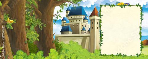kreskówki scena z gór doliną blisko lasu i kasztelem z ramą dla tekstowej ilustraci dla dzieci