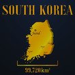 South Korea golden solid country outline silhouette, realistic piece of world map template, for infographic, vector illustration, isolated object, background. From countries set