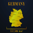 Germany golden solid country outline silhouette, realistic piece of world map template, for infographic, vector illustration, isolated object, background. From countries set