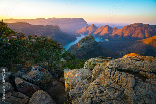 three rondavels and blyde river canyon at sunset, south africa 52 Canvas Print