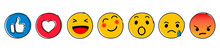 Set Of Emoticons. Emoji Social Network Reactions Icon. Yellow Smilies, Set Smiley Emotion, By Smilies, Cartoon Emoticons - Stock Vector