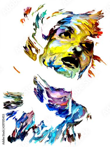 Obraz Colorful Female Portrait Painting. - fototapety do salonu