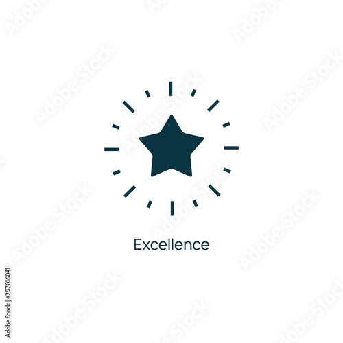 Obraz Excellence star vector premium line icon. Sertificate stamp quality star mark service - fototapety do salonu