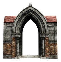Fantasy Academy Gate Stone Wall, 3D Illustration, 3D Rendering