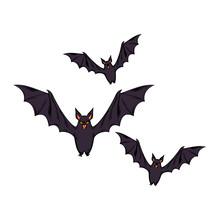 Bats Flying Halloween Style Po...