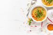 Leinwanddruck Bild - Vegetarian vegetable lentil soup with fresh parsley, healthy eating, top view