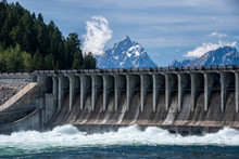 Jackson Dam Located In The Grand Teton National Park, USA