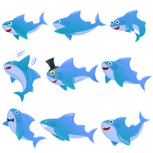 Shark Cartoon Icons Set, Vector Illustration