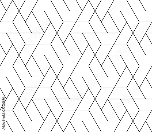 obraz PCV Vector seamless thin linear tile pattern. Modern stylish fractal texture.
