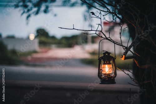 vintage lantern hanging of a tree in the evening Fototapet
