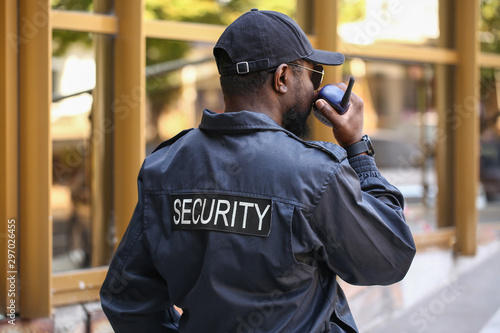 Canvas Print African-American security guard outdoors