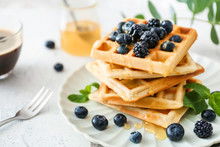Plate With Sweet Tasty Waffles...