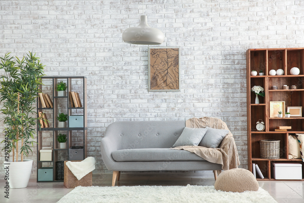 Fototapety, obrazy: Interior of modern room with brick wall
