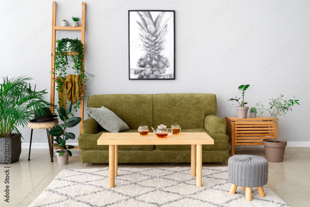 Fototapety, obrazy: Stylish interior of room with green houseplants