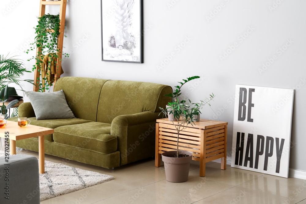 Fototapety, obrazy: Stylish interior of room with green houseplants