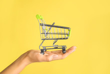 Female Hand With Empty Small Shopping Cart On Color Background