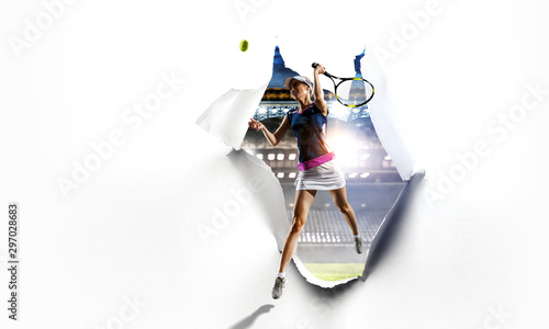 Paper breakthrough hole effect and tennis player Wallpaper Mural
