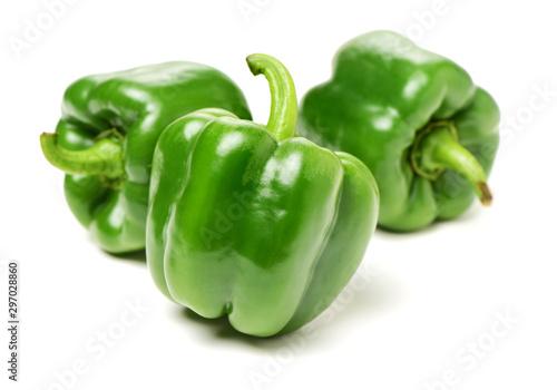 fresh green bell pepper (capsicum) on a white background Fototapet