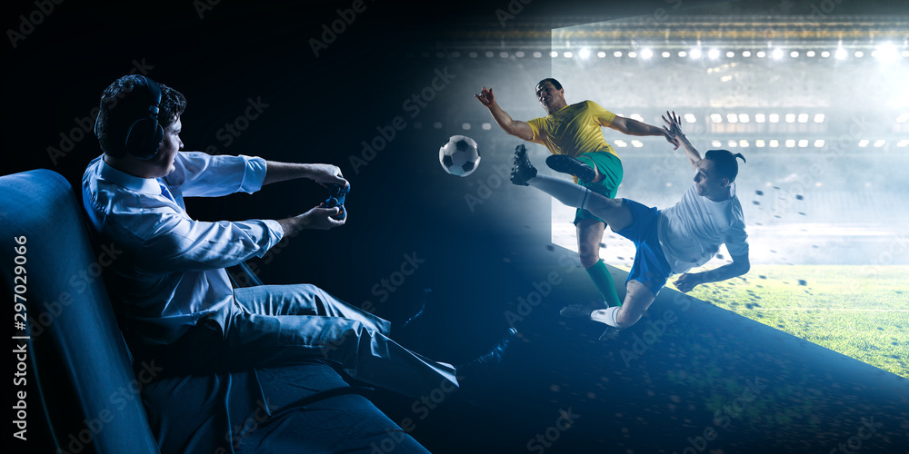 Obraz Enjoy the reality of game. Mixed media fototapeta, plakat