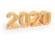 Holiday 3d illustration of golden metallic numbers 2020. Realistic 3d sign. Art concept.
