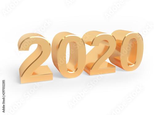 Fototapeta Holiday 3d illustration of golden metallic numbers 2020. Realistic 3d sign. Art concept. obraz na płótnie