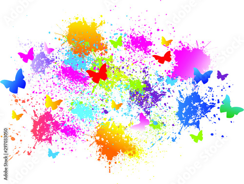Photo sur Toile Papillons dans Grunge Colorful background. Butterfly, paint, drops, ink splashes. Vector illustration.