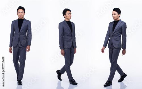 Full Length Snap Figure, Asian Business Man walks left right in dark Black prope Fototapeta
