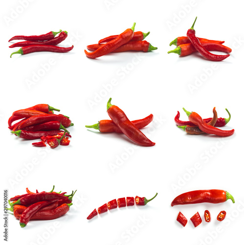 Foto auf Gartenposter Hot Chili Peppers Set of Red chili pepper isolated on a white background. Healthy food. Fresh vegetables.