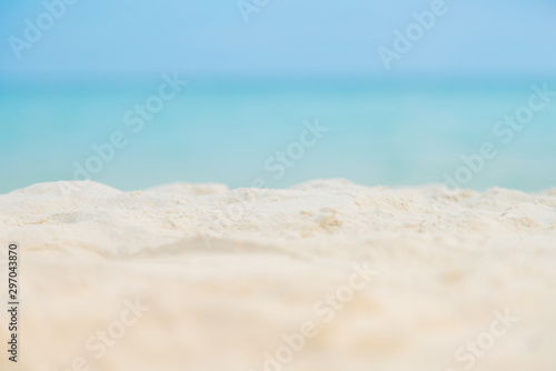 Montage in der Fensternische Himmelblau Soft focus white Sand on the beach and blue sea sky.Summer vacation outdoor and travel holiday in Samed island Thailand