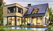 Leinwanddruck Bild - Modern house with solar panels and pool