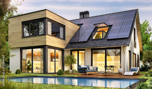 Fototapeta Modern house with solar panels and pool obraz