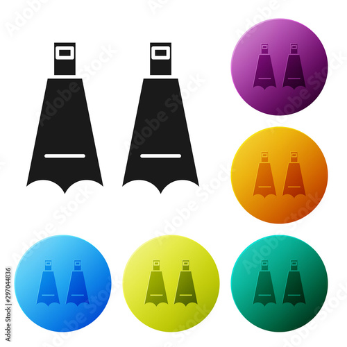 Black Rubber flippers for swimming icon isolated on white background. Diving equipment. Extreme sport. Diving underwater equipment. Set icons colorful circle buttons. Vector Illustration Wall mural