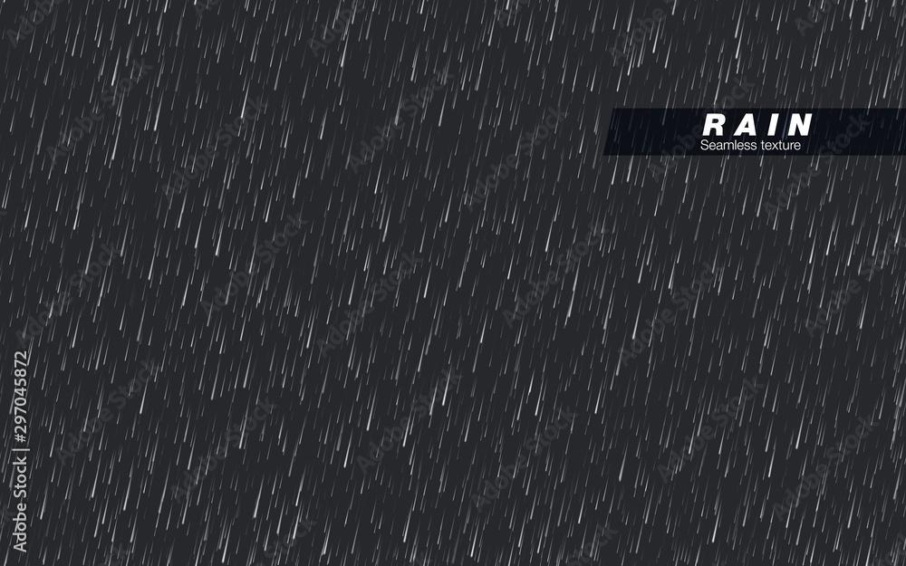 Fototapety, obrazy: Seamless rainfall texture. Rain drop. Vector isolated on dark background