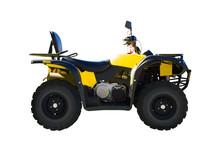 Yellow ATV Vehicle Isolated On...