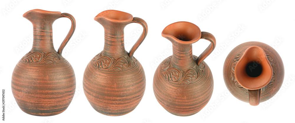 Fototapety, obrazy: Set beautiful clay jugs in different angles isolated on white