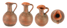 Set Beautiful Clay Jugs In Dif...