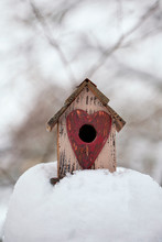 Cut Bird House With Heart In Snow