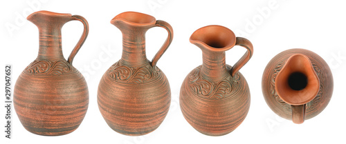 Fotografia  Set beautiful clay jugs in different angles isolated on white