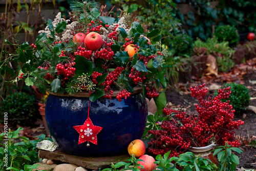 Fototapeta Winterly Decoration In Blue Pot