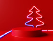 canvas print picture - Neon Christmas tree with red podium. 3d rendering
